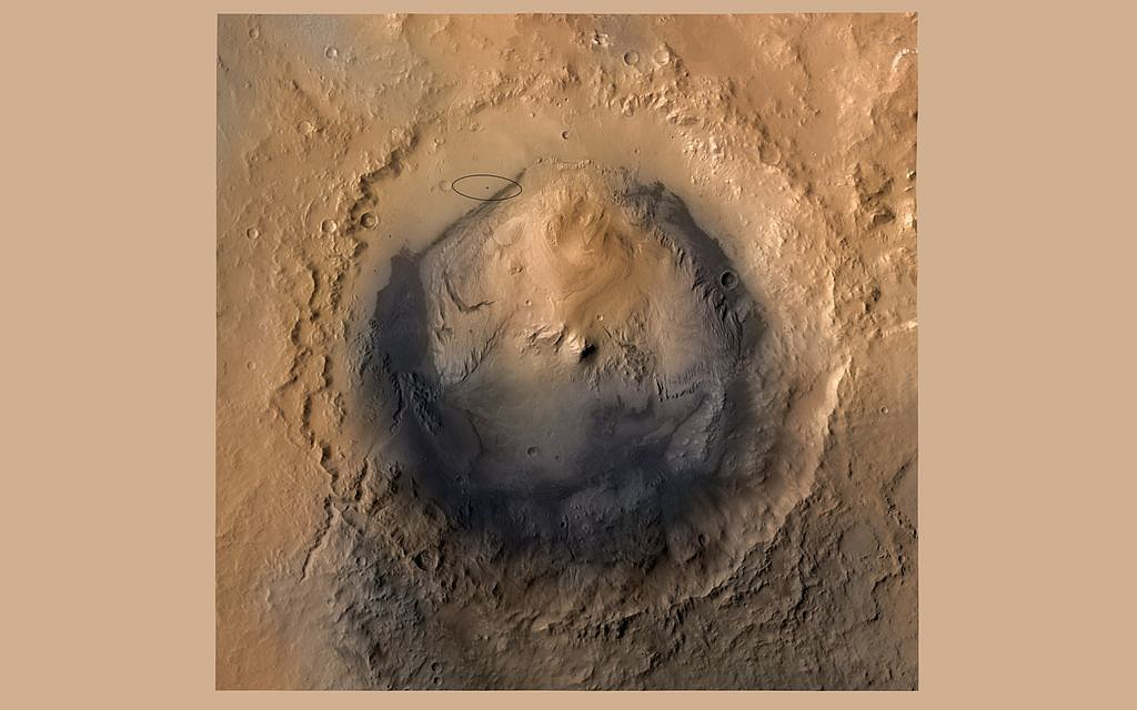 Looking straight down at the Gale Crater, the rover's landing site. Source:  NASA/JPL-Caltech/ESA/DLR/FU Berlin/MSSS