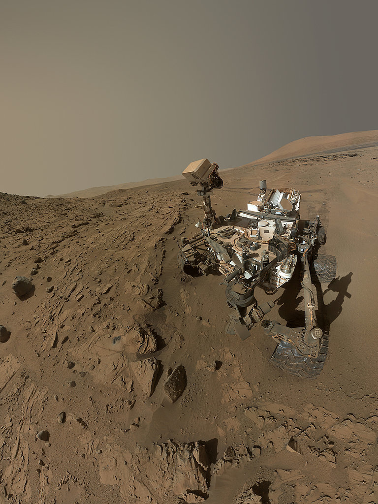 "Curiosity takes a ""selfie"" made up of dozens of high-res images using its rover arm camera to celebrate its one Martian year on the planet.  Source:  NASA/JPL-Caltech/MSSS"