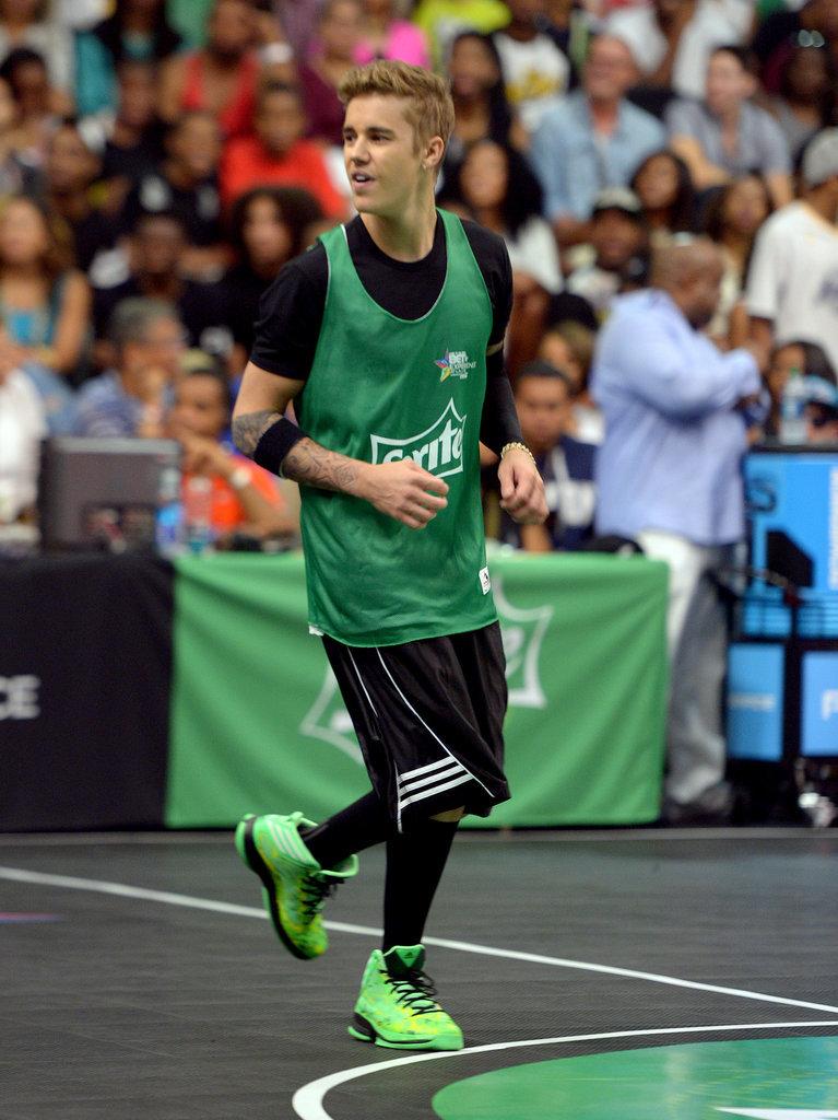 Justin Bieber participated in the Sprite Celebrity Basketball Game in LA on Saturday.