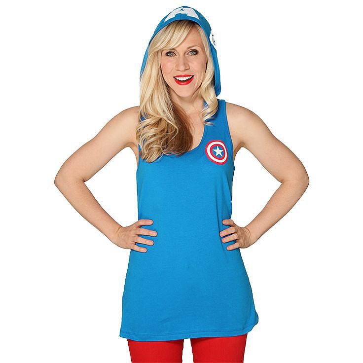 You're going to need something appropriate for the month's weather and festivities. Enter Her Universe's Captain America Hooded Tank ($35), which looks very summertime casual. But, flip that hood up and — bam! — patriotic superhero ready to fight all kinds of crime.  — KS