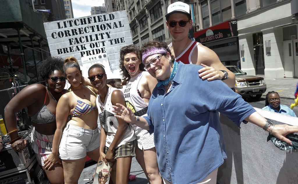 Orange Is the New Black's Danielle Brooks, Dascha Polanco, Samira Wiley, Yael Stone, Barbara Rosenblat, and Matt McGorry posed at their NYC gay pride event on Sunday.
