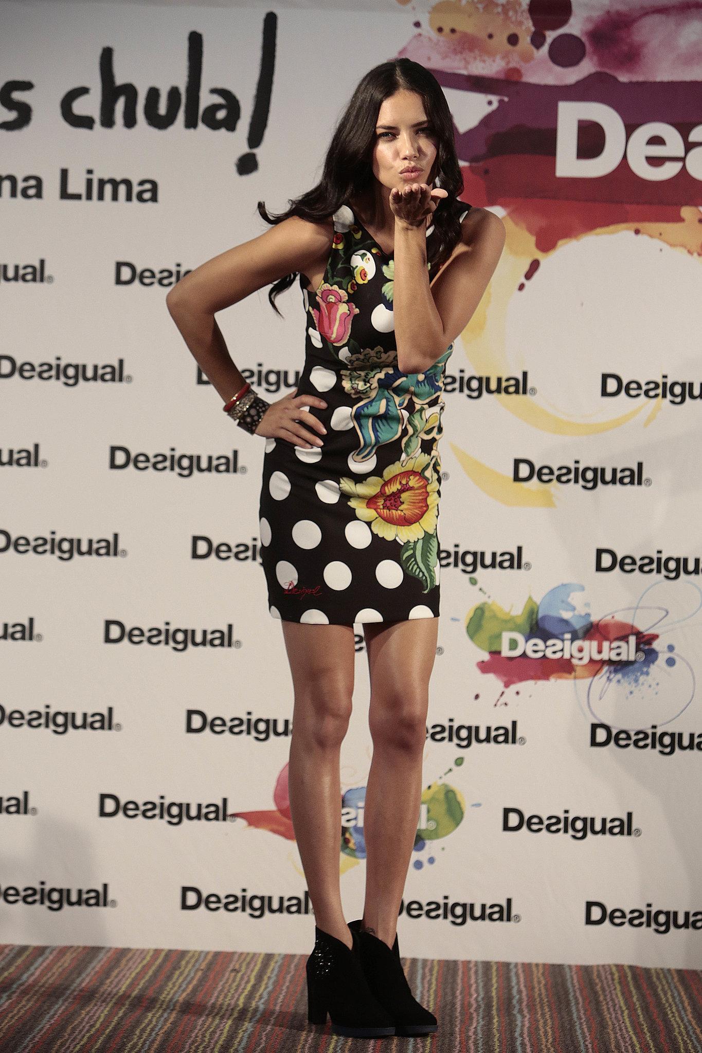 Adriana Lima blew a kiss at Barcelona Fashion Week on Monday.