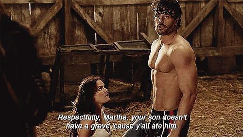 When He Tells Off Martha . . . Shirtless