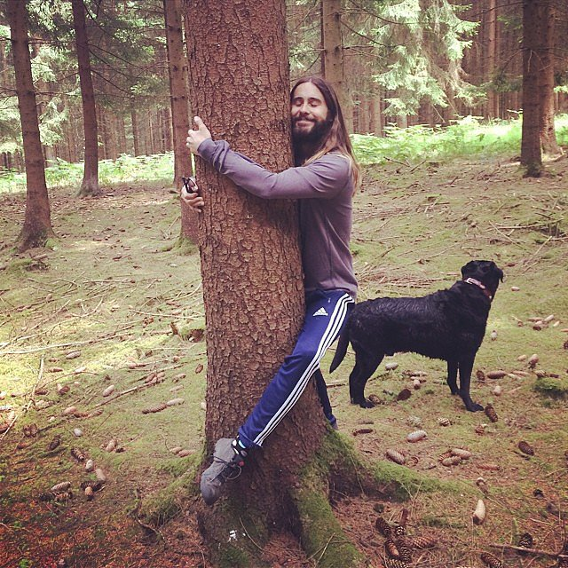 "Jared Leto embraced his ""tree-hugging hippie"" side. Source: Instagram user jaredleto"