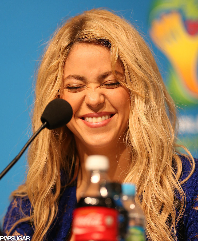 On Saturday, Shakira had a good laugh during a press conference leading up to the final match at the World Cup, where she's set to perform.