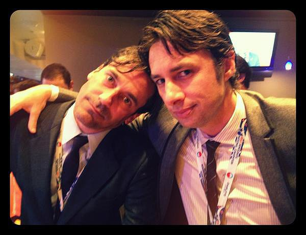 """There's too much hotness in this 2012 snap of Jon Hamm and Zach Braff, and Zach knows it. """"Here's one for the ladies,"""" he wrote in the caption."""