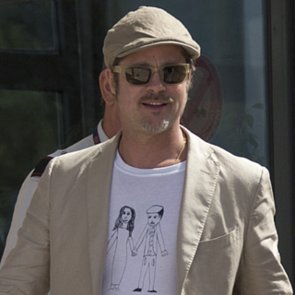 Brad Pitt Wears Homemade Shirt at Airport in France | Photos