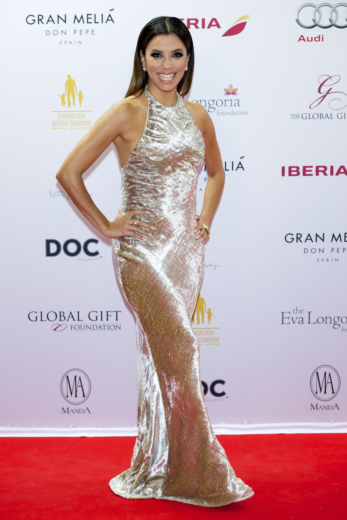 Eva Longoria looked glam at the Global Gift Gala red carpet in Marbella, Spain, on Sunday.