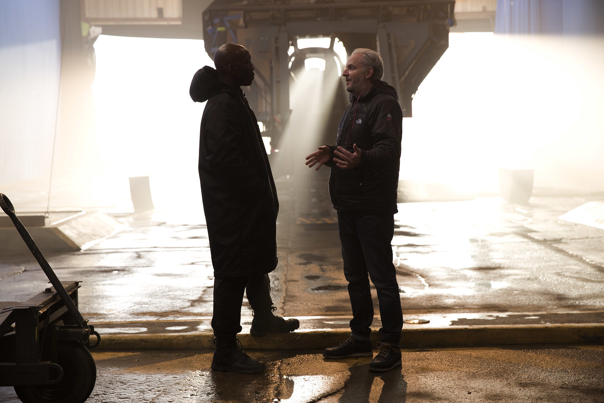 Mahershala Ali as Boggs and director Francis Lawrence on the set.
