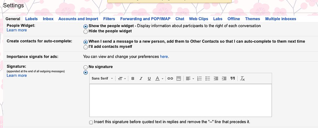"""Step 3: Back in Gmail, Find the """"Signature"""" Setting"""