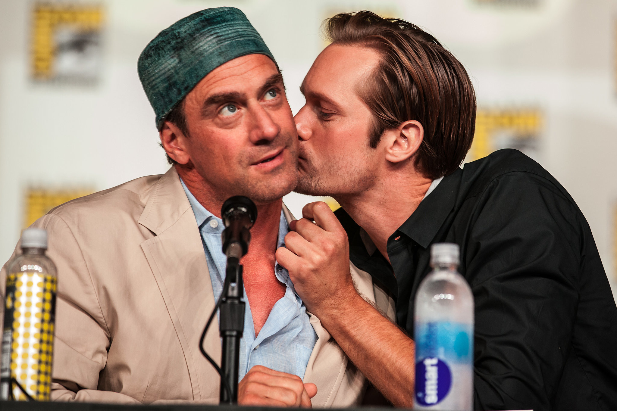 Alexander Skarsgard planted a kiss on Chris Meloni's cheek at the True Blood panel in 2012.