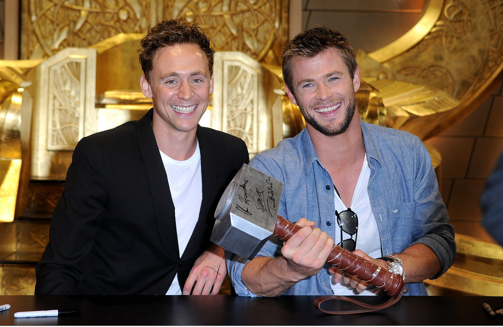 Thor stars Tom Hiddleston and Chris Hemsworth signed autographs during Comic-Con in 2010.