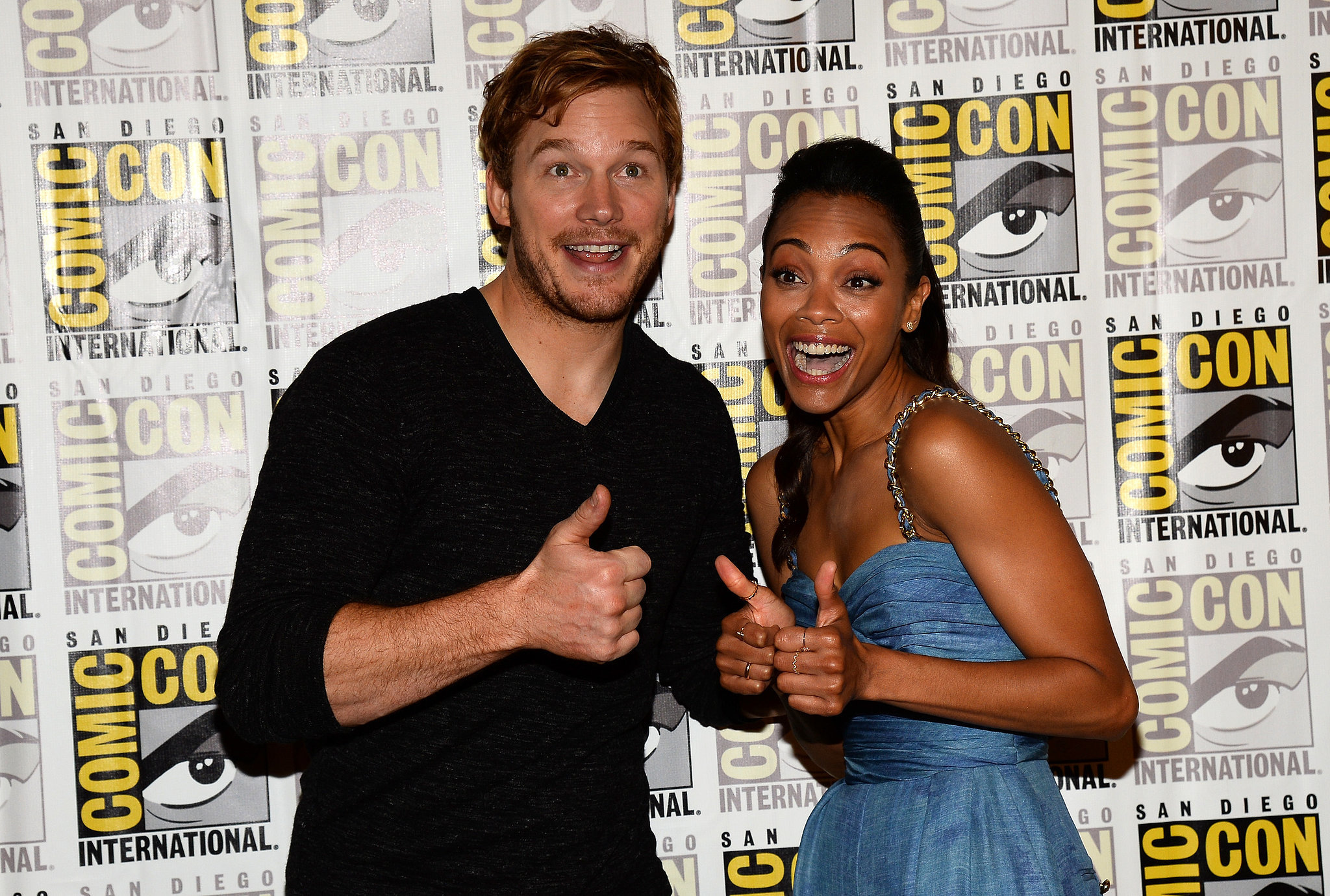 Chris Pratt and Zoe Saldana gave their thumbs-up on the red carpet for the Guardians of the Galaxy event in 2013.