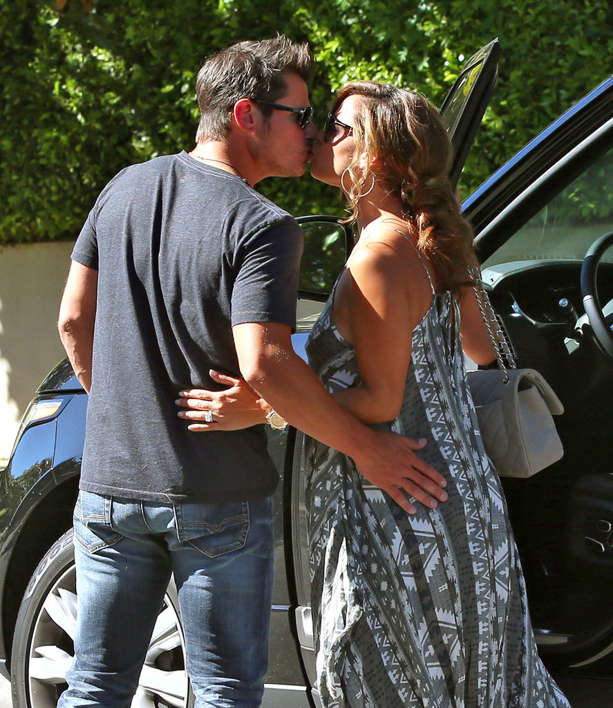 Vanessa and Nick Lachey shared a kiss in LA on Tuesday.