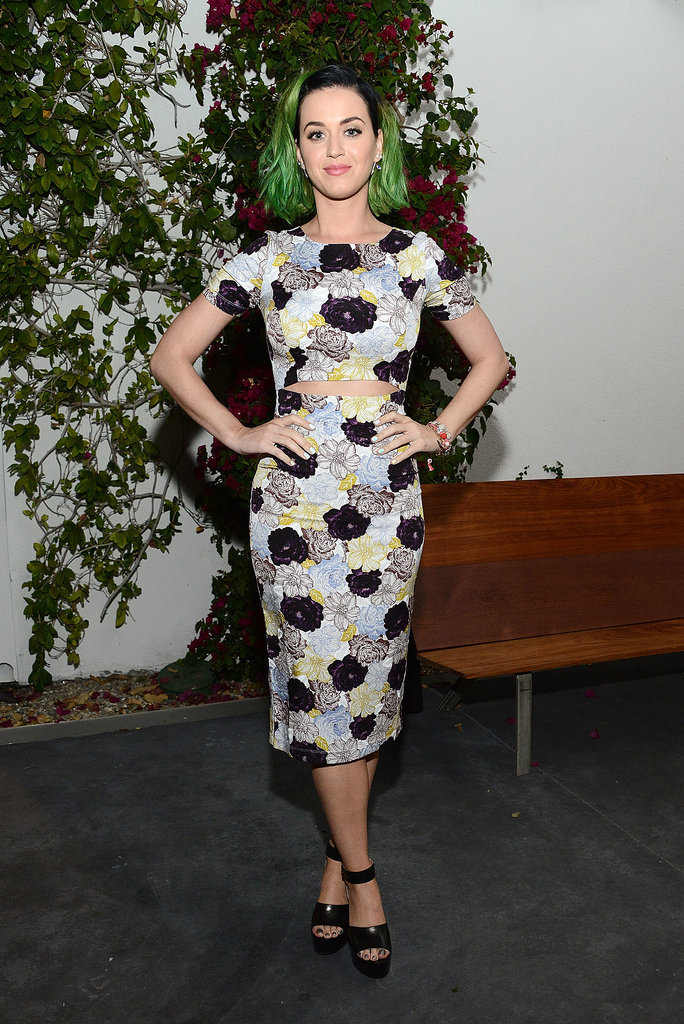 Katy Perry's midriff-slit Suno dress looked almost like a crop top and pencil skirt.