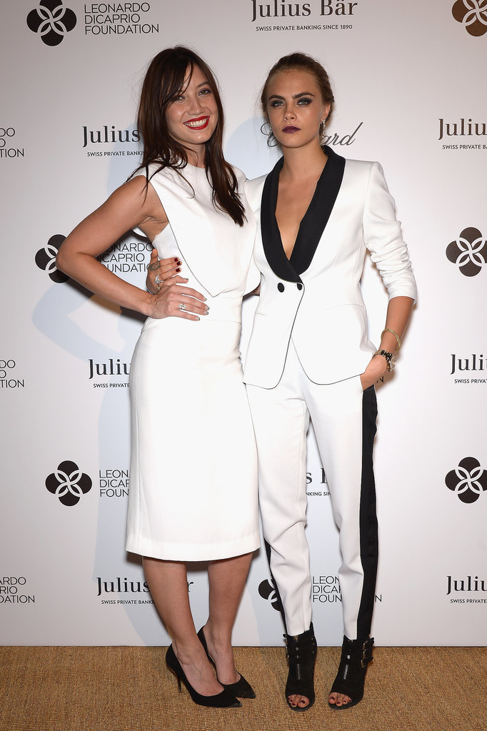 Cara and Daisy Lowe both wore white.