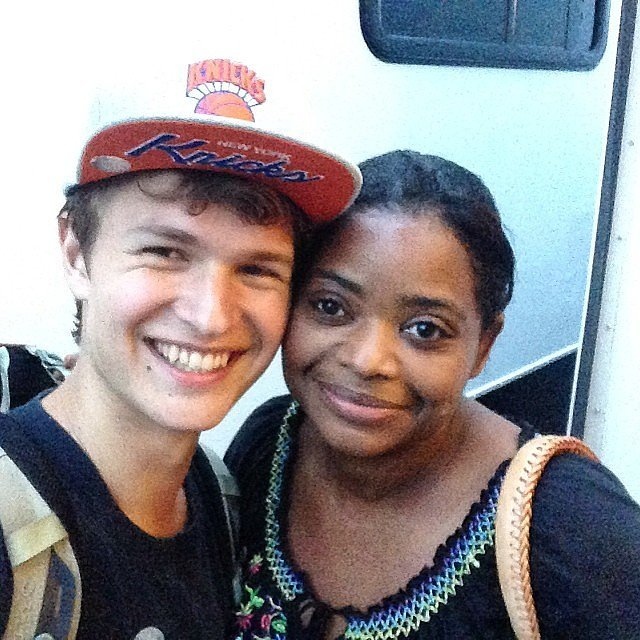 Ansel and Octavia Spencer (Johanna) snapped a selfie on her last day of shooting in June.