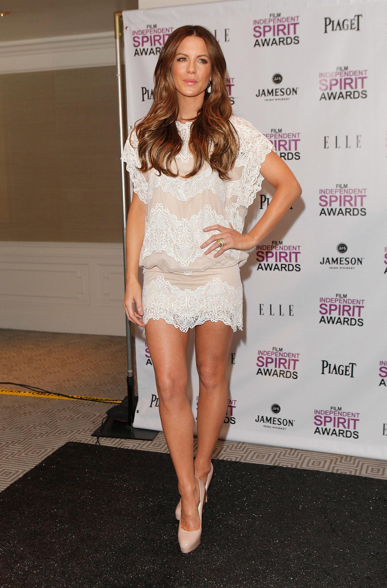 In November 2011, Kate Beckinsale rocked a short white lace number at the Film Independent Spirit Awards press conference in LA.