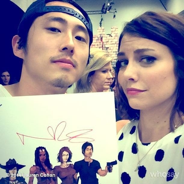 Steven Yeun and Lauren Cohan took a snap with graphic art inspired by their show, The Walking Dead.  Source: Instagram user laurencohan