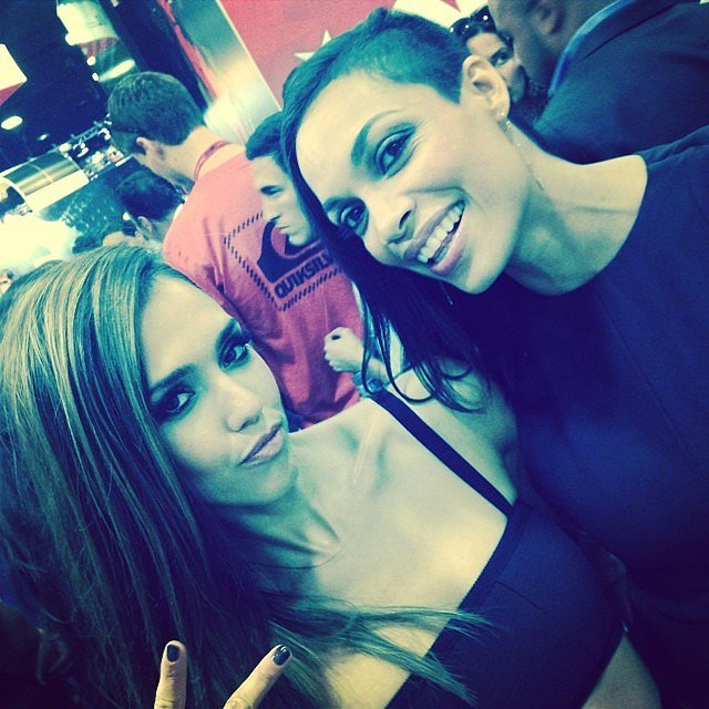 Jessica Alba and Rosario Dawson were amped up for their poster signing for Sin City: A Dame to Kill For.  Source: Instagram user jessicaalba