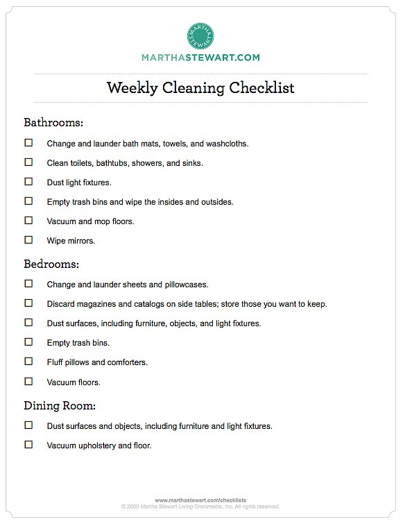 Free Printable Checklists