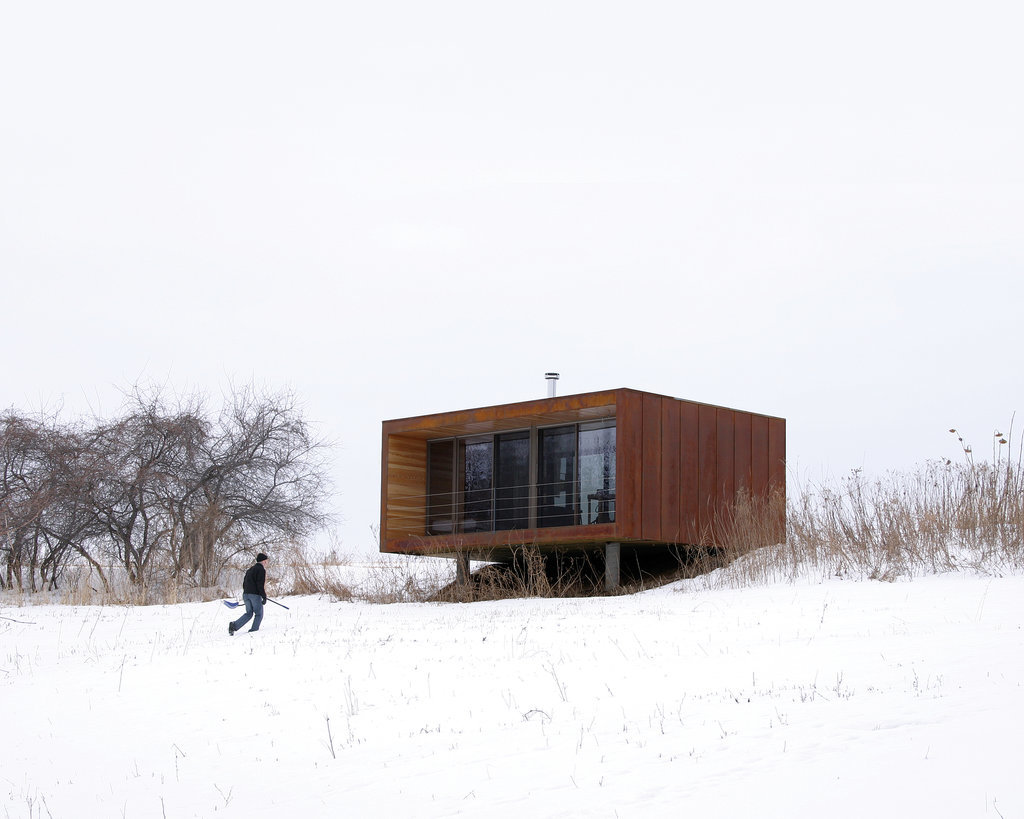 """Noted as the """"iconic"""" weeHouse, the Arado home cost only $60,000 to build. This miniature dwelling is a testament to the durability of tiny homes, easily enduring Wisconsin's frigid Winters and hot Summers."""