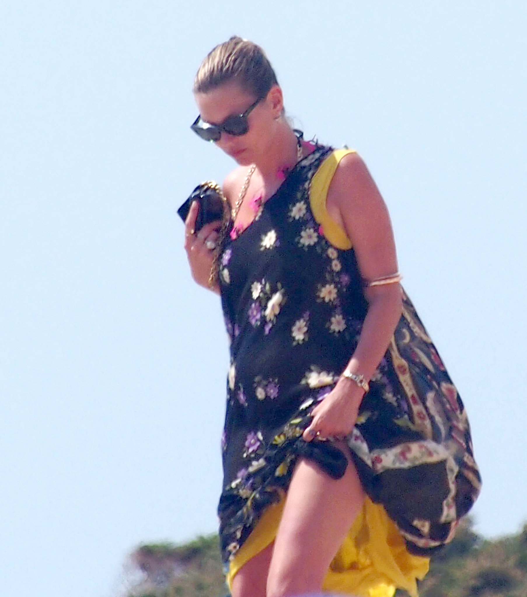 Kate Moss enjoyed a Tuesday beach day on her vacation in Spain.