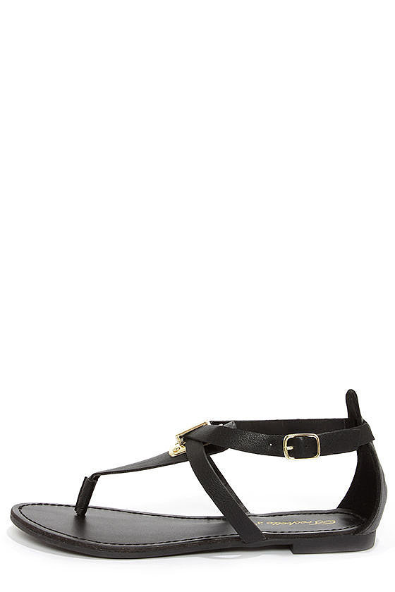 Lulu's Silvia 12 Black and Gold Thong Sandals