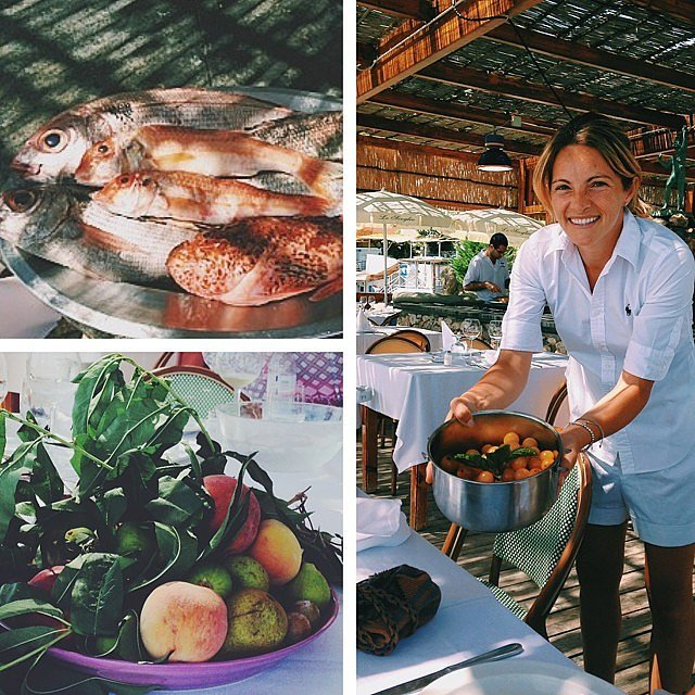 """Reese revealed details about local cuisine with this pretty collage: """"Oh boy. The restaurant Lo Scoglio, where you sit staring out at sea, the fish is caught fresh off the dock, and those tomatoes are straight from the garden. #Heaven."""" Source: Instagram user reesewitherspoon"""