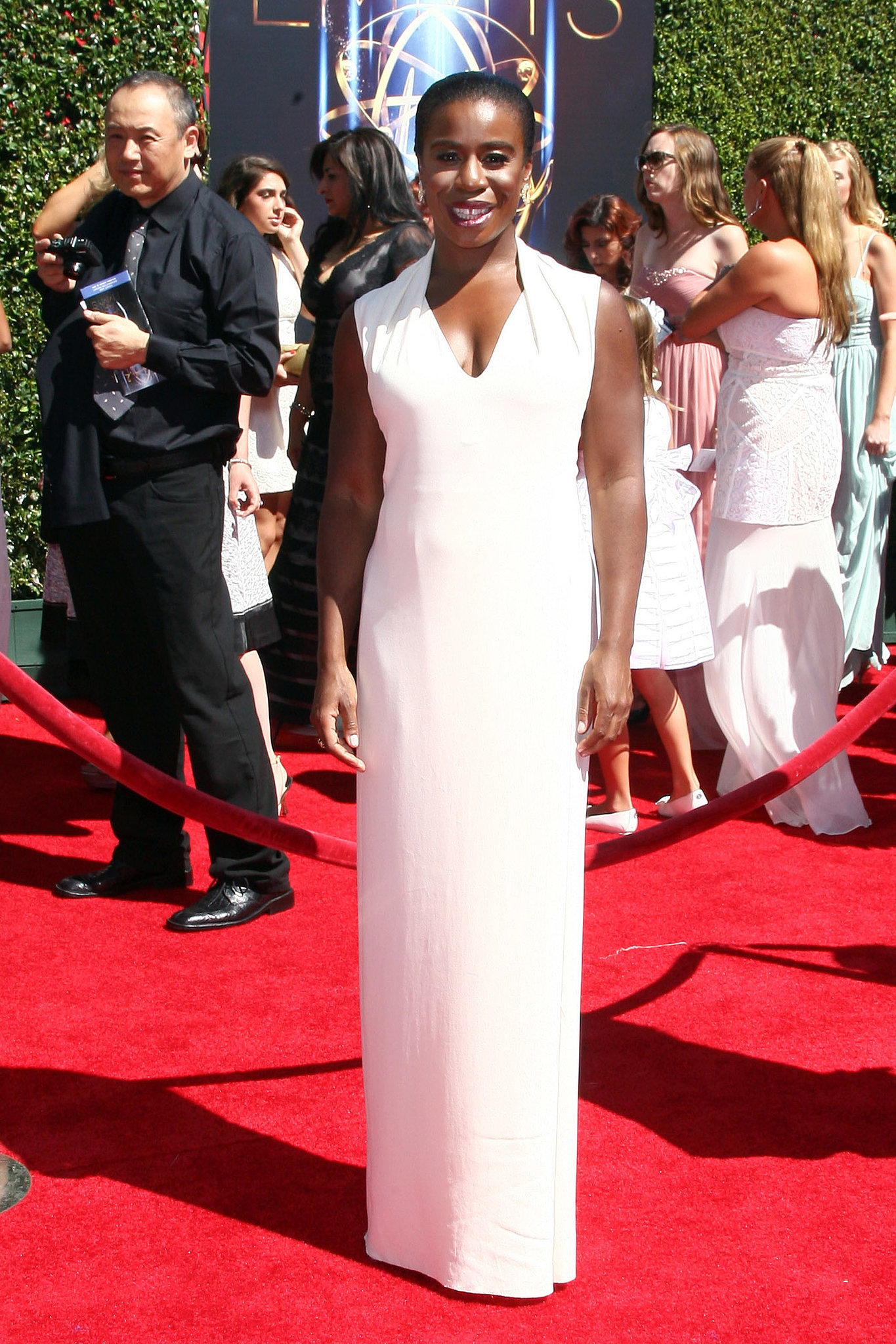 Uzo Aduba stunned in a white dress.