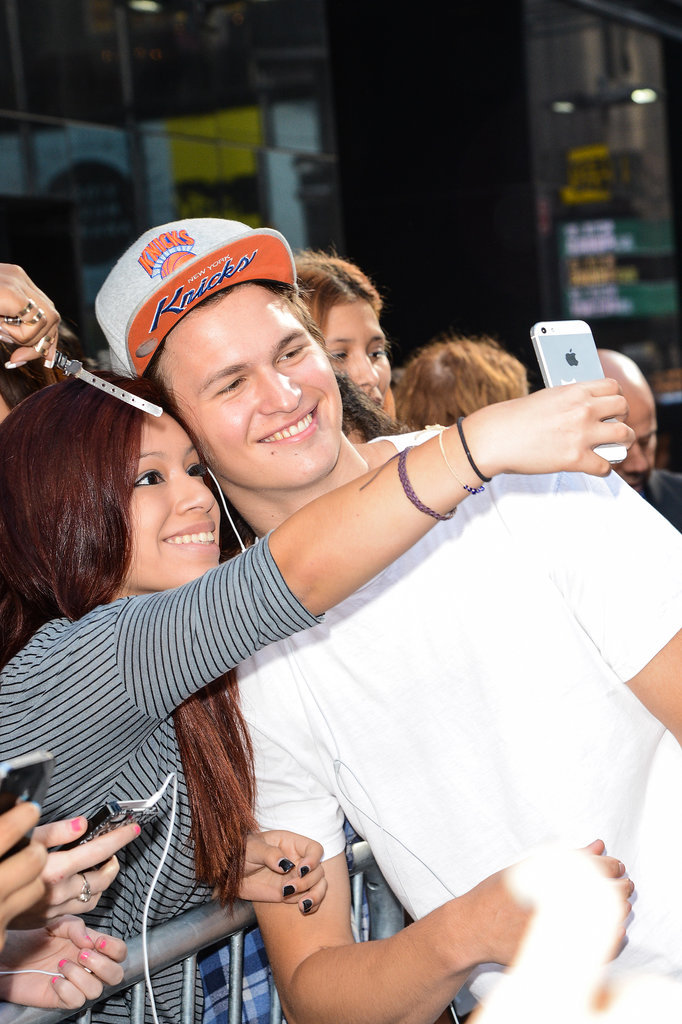 Ansel Elgort took a selfie with a fan outside Good Morning America on Tuesday.