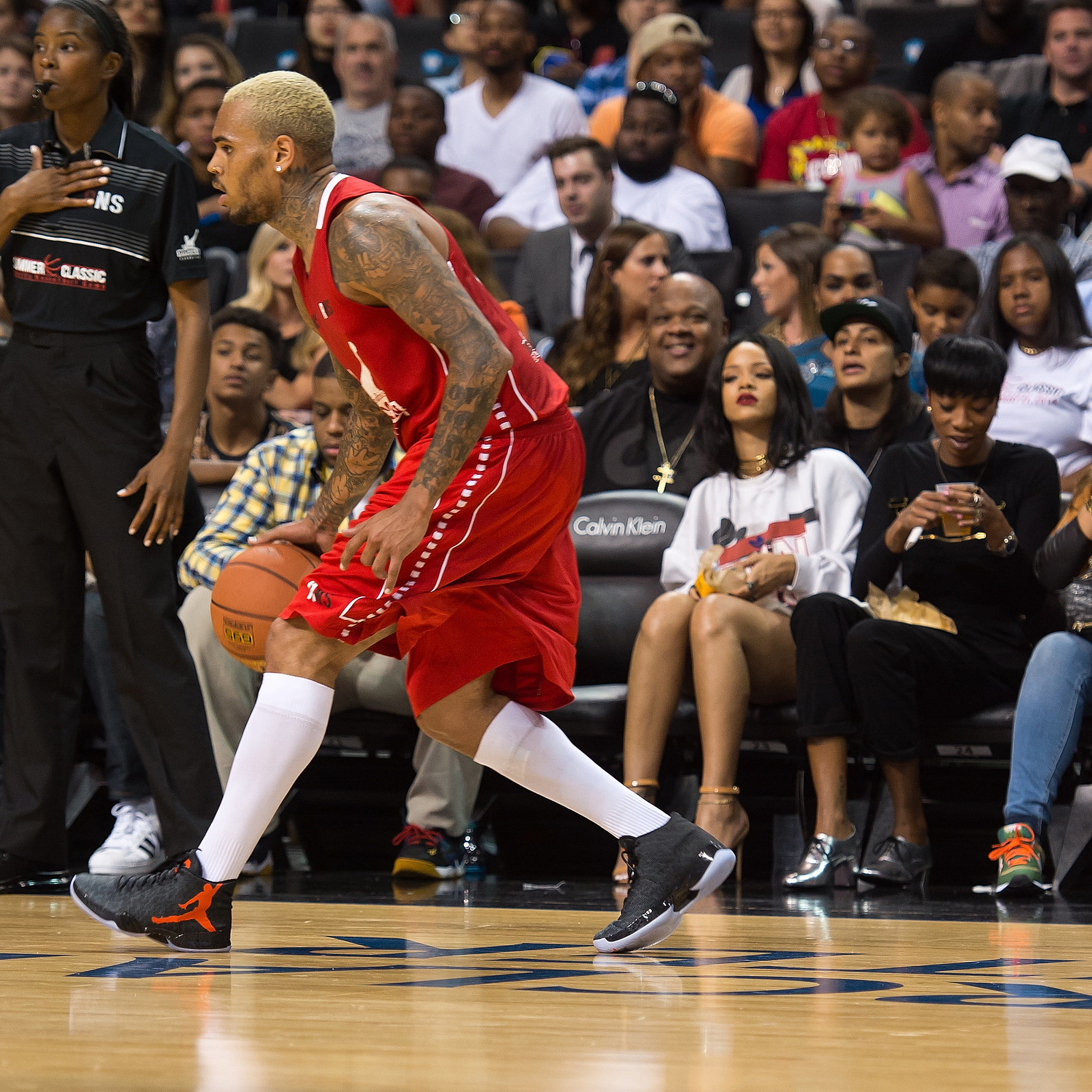 Rihanna Sits Courtside at Chris Brown's Big Basketball Game