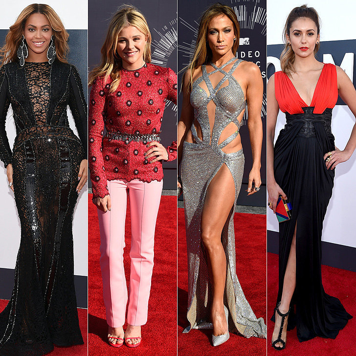 Let's start with the red carpet. Here's a rundown of every dress you saw and every celebrity who was there. Who do you think had the most flawless fashion of the night? Cast your vote in our best dressed poll. Want to zoom in on all those beauty looks? We've got close-ups of all the hair and makeup from the night. Did you see what Amber Rose was wearing?! You need to take a look at her entire outfit — or lack thereof. The real show-stealer, though, was Katy Perry, who did an epic throwback to Britney Spears.