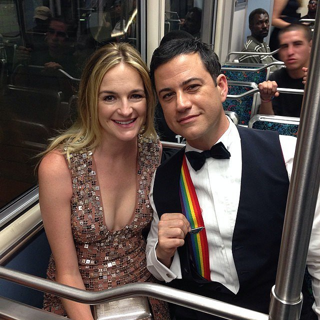 Yes, Jimmy Kimmel and his wife, Molly McNearney, took the subway to the Emmys! Jimmy donned rainbow suspenders to honor Robin Williams's Mork & Mindy character.