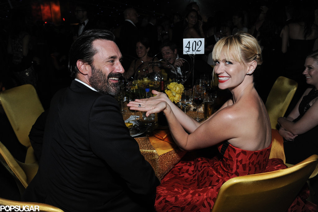 Mad Men stars Jon Hamm and January Jones goofed around at their table during the Governors Ball.