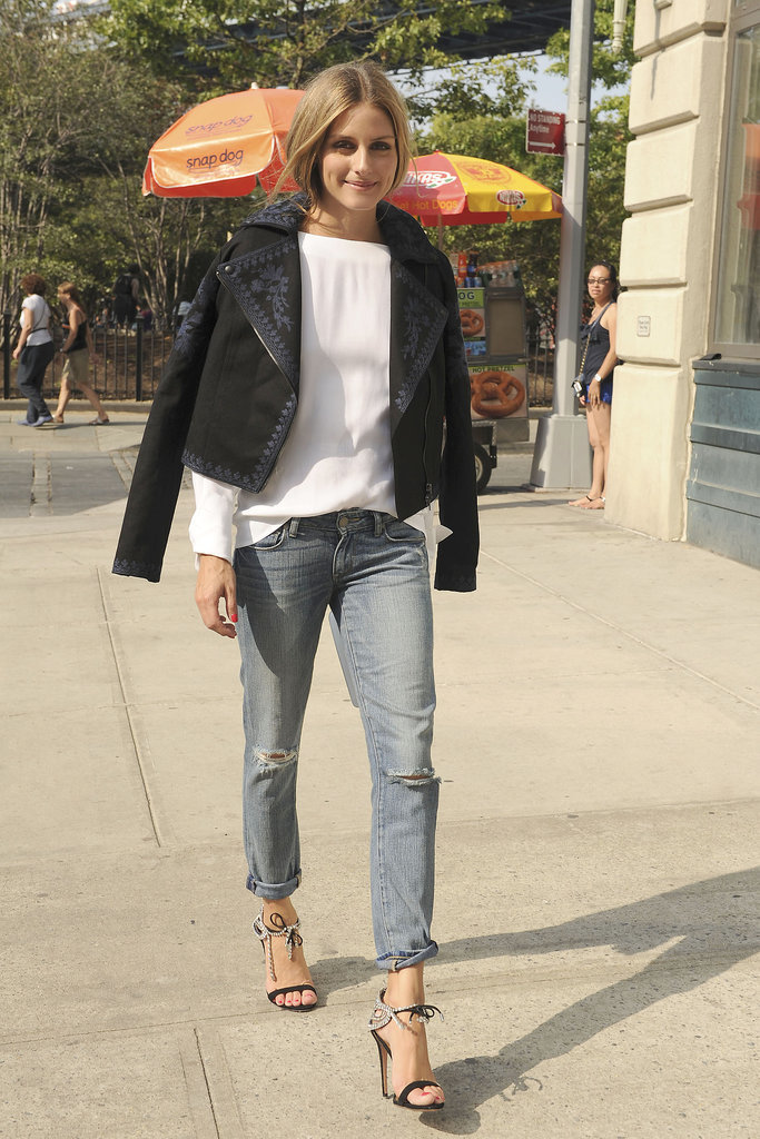 Olivia Palermo walked around NYC in a Marchesa jacket.