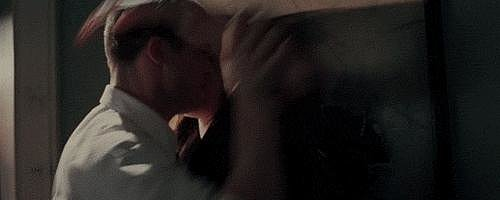 Which turns into this Fifty Shades-ish kiss.