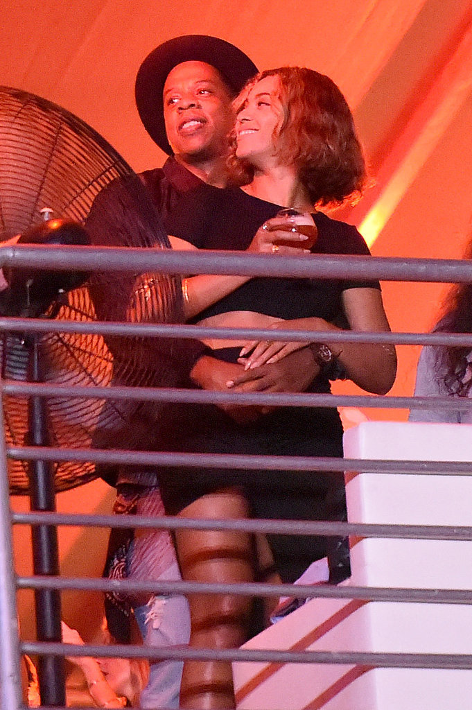 Jay Z kept his arms around Beyoncé as they checked out the Made in America Festival in LA in September 2014.