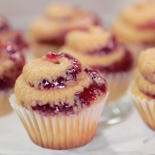 Simple and Sweet Peanut Butter and Jelly Mini Cupcakes