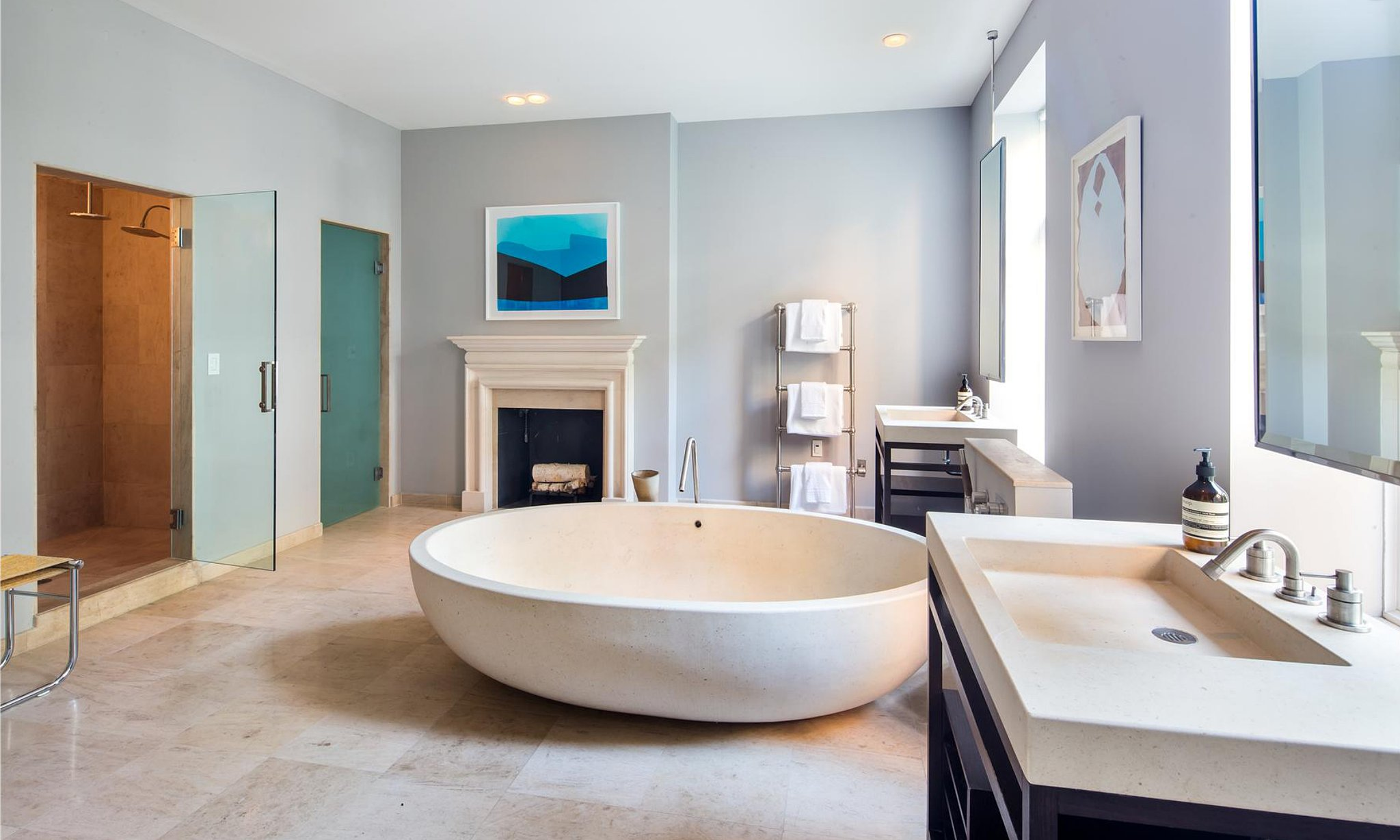 In the bathroom a floating egg shaped tub serves as the ultimate finally sarah jessica - Relaxing japanese bathroom design for ultimate relaxation bath ...