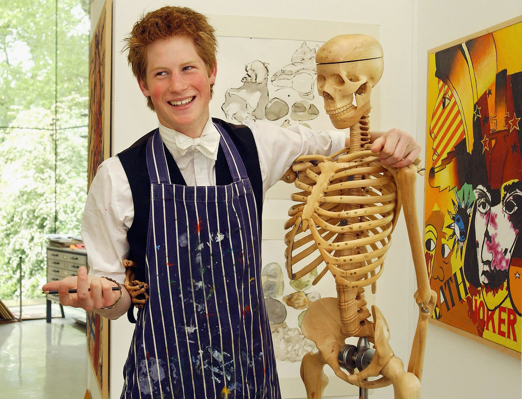 Harry took a break from painting at Eton in 2003 to play around with a skeleton.