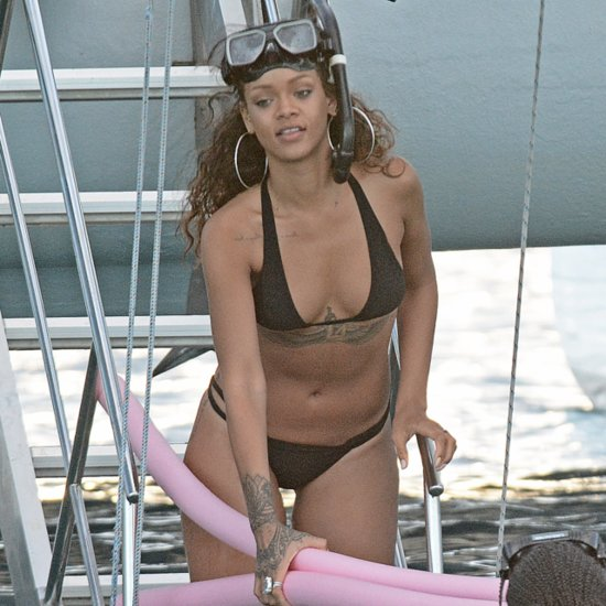 Rihanna Wearing a Black Bikini in Barbados   Pictures