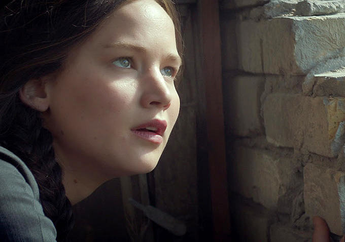 Jennifer Lawrence as Katniss.
