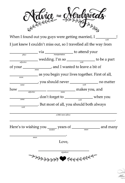 Slobbery image pertaining to free printable wedding mad libs template