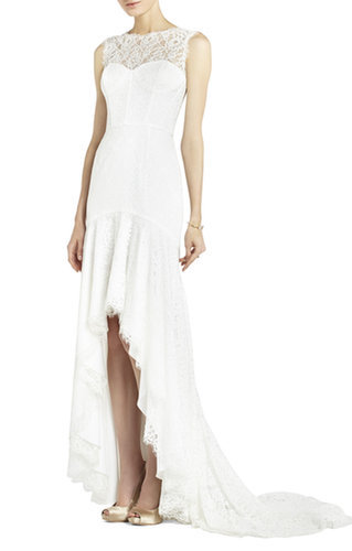 $228.00 BCBG CLARISSA SLEEVELESS LACE HIGH-LOW GOWN