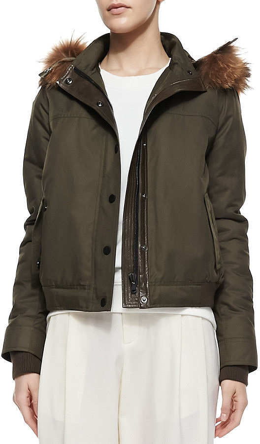 Vince Fur-Trim Hooded Anorak