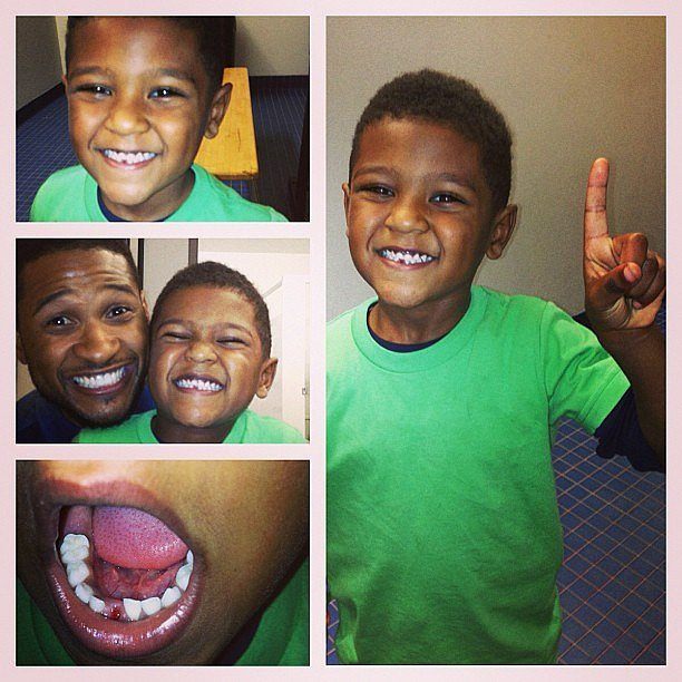 The singer shared this adorable collage when his son, Cinco, lost his first tooth in March 2013.