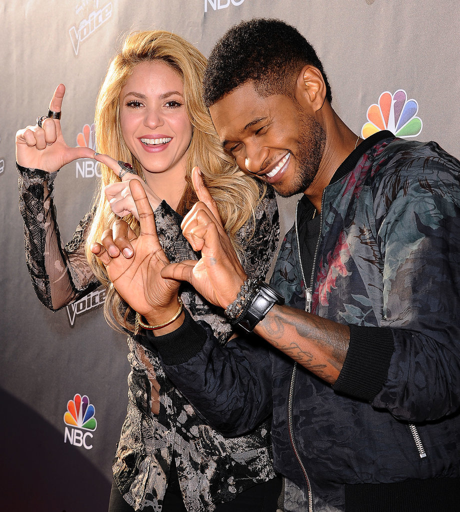 Usher and Shakira got silly on the red carpet at an event for The Voice in April 2014.