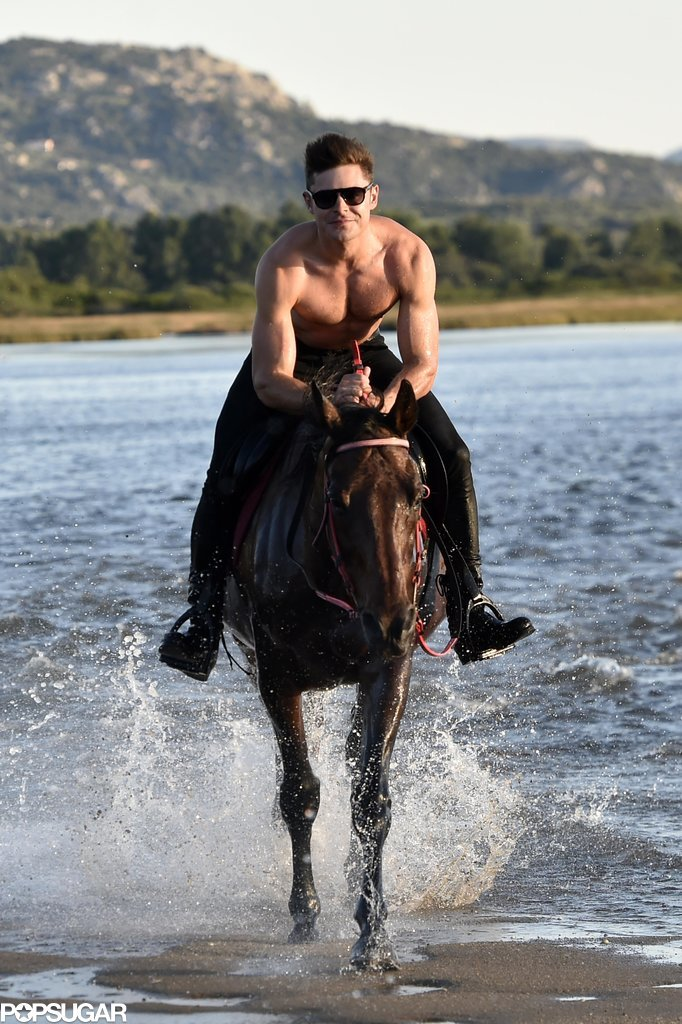 He whipped his shirt off while horseback riding with Michelle Rodriguez during a July 2014 jaunt in Italy.
