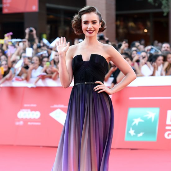Lily Collins Elie Saab Dress at 2014 Rome Film Festival